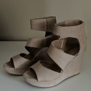 Faux Suede Nude Wedge Sandals